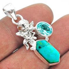 7.17cts hexagon arizona mohave turquoise topaz silver angel pendant t55400
