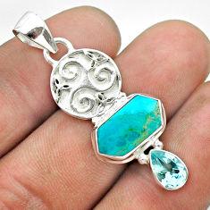7.53cts hexagon blue arizona mohave turquoise topaz 925 silver pendant t55477