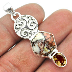 8.77cts hexagon bronze wild horse magnesite smoky topaz silver pendant t55418