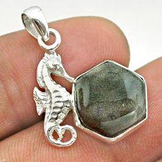 6.26cts hexagon golden sheen black obsidian 925 silver seahorse pendant t55282