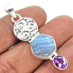8.99cts hexagon natural blue lace agate amethyst 925 silver pendant t55459