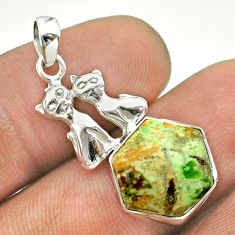5.45cts hexagon natural chrome chalcedony 925 silver two cats pendant t55305