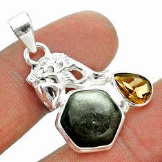 8.77cts hexagon natural golden sheen black obsidian silver fish pendant t55394