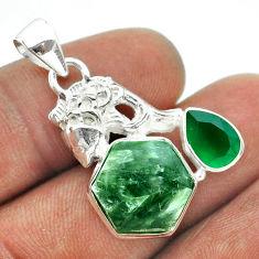 8.43cts hexagon natural green seraphinite chalcedony silver fish pendant t55457