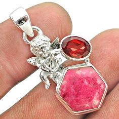 8.77cts hexagon natural pink thulite garnet 925 silver angel pendant t55494