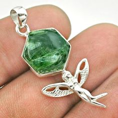 6.27cts hexagon natural seraphinite silver angel wings fairy pendant t55247