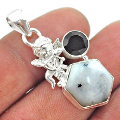 8.77cts hexagon natural white dendrite opal 925 silver angel pendant t55396
