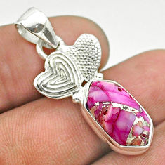 Hexagon spiny oyster arizona turquoise 925 silver couple hearts pendant t55321