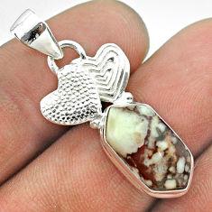 5.82cts hexagon wild horse magnesite 925 silver couple hearts pendant t55462