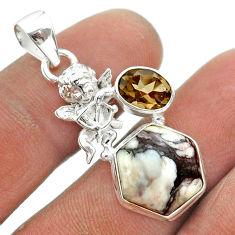 8.77cts hexagon wild horse magnesite smoky topaz 925 silver angel pendant t55403