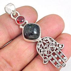6.45cts honduran matrix opal 925 silver hand of god hamsa pendant r90374