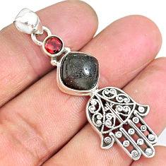 6.68cts honduran matrix opal 925 silver hand of god hamsa pendant r90375