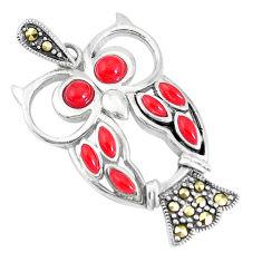 3.13cts honey onyx marcasite enamel 925 silver owl pendant jewelry a93280 c13784