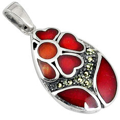 Honey onyx marcasite enamel 925 sterling silver pendant jewelry c16705