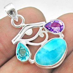 10.78cts horse eye natural blue larimar amethyst topaz 925 silver pendant t56648