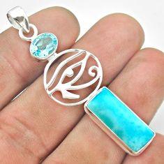 10.64cts horse eye natural blue larimar topaz 925 sterling silver pendant t56632
