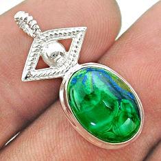 5.22cts horse eye natural green azurite malachite 925 silver pendant t55508