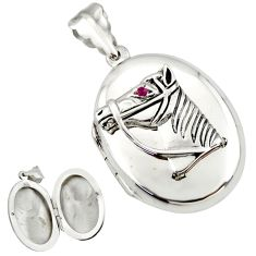8.03gms horse face natural red ruby 925 silver poison box pendant c26625