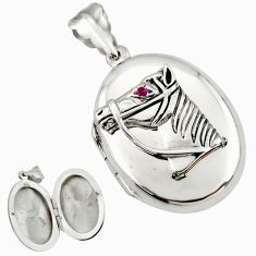 7.89gms horse face natural red ruby 925 silver poison box pendant c26637