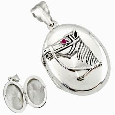 8.02gms horse face natural red ruby 925 silver poison box pendant c26639