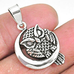 4.26gms indonesian bali solid 925 sterling silver moon owl pendant t6289