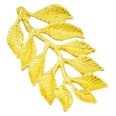 Indonesian bali style solid 925 silver 14k gold deltoid leaf pendant c25905