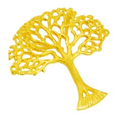 Indonesian bali style solid 925 silver 14k gold tree of life pendant c25902