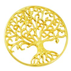 Indonesian bali style solid 925 silver 14k gold tree of life pendant c25904