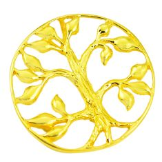 Indonesian bali style solid 925 silver 14k gold tree of life pendant c25906