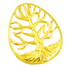Indonesian bali style solid 925 silver 14k gold tree of life pendant c25907