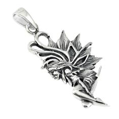 Indonesian bali style solid 925 silver angel wings fairy pendant c20382