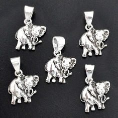 11.47gms indonesian bali style solid 925 silver elephant lot of 5 pendant t6311