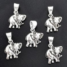 11.48gms indonesian bali style solid 925 silver elephant lot of 5 pendant t6312
