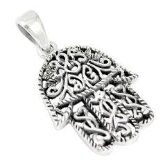 Indonesian bali style solid 925 silver hand of god hamsa pendant c20389