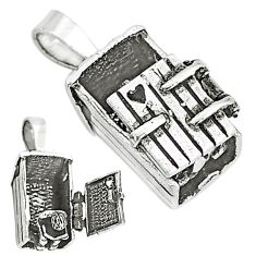4.89gms indonesian bali style solid 925 silver love letter box pendant t6245