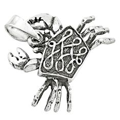 4.69gms indonesian bali style solid 925 sterling silver 3d crab pendant t6228