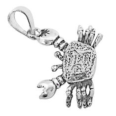 3.26gms indonesian bali style solid 925 sterling silver 3d crab pendant t6229