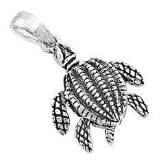 2.48gms indonesian bali style solid 925 sterling silver 3d turtle pendant t6231