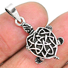 4.02gms indonesian bali style solid 925 sterling silver 3d turtle pendant t6291