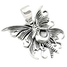 Indonesian bali style solid 925 sterling silver angel wing pendant c20366