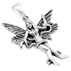 Indonesian bali style solid 925 sterling silver angel wing pendant c20398