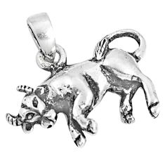 2.48gms indonesian bali style solid 925 sterling silver bull pendant c25895