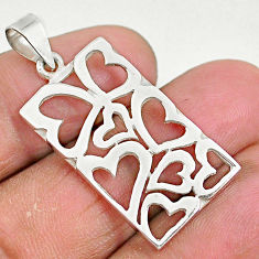 3.48gms indonesian bali style solid 925 sterling silver heart tag pendant t6282