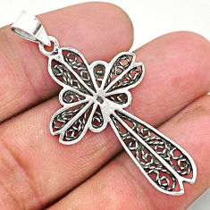 3.26gms indonesian bali style solid 925 sterling silver holy cross pendant t6227
