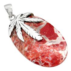 38.50cts jasper red 925 sterling silver deltoid leaf pendant jewelry d45566