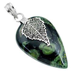 25.89cts kambaba jasper (stromatolites) 925 silver deltoid leaf pendant r90836