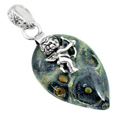 16.83cts kambaba jasper (stromatolites) silver cupid angel wings pendant r90821