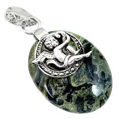 19.73cts kambaba jasper (stromatolites) silver cupid angel wings pendant r90834
