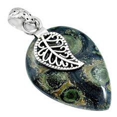 16.74cts kambaba jasper (stromatolites) silver deltoid leaf pendant r90837