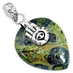 17.87cts kambaba jasper (stromatolites) silver hand of god hamsa pendant r90835
